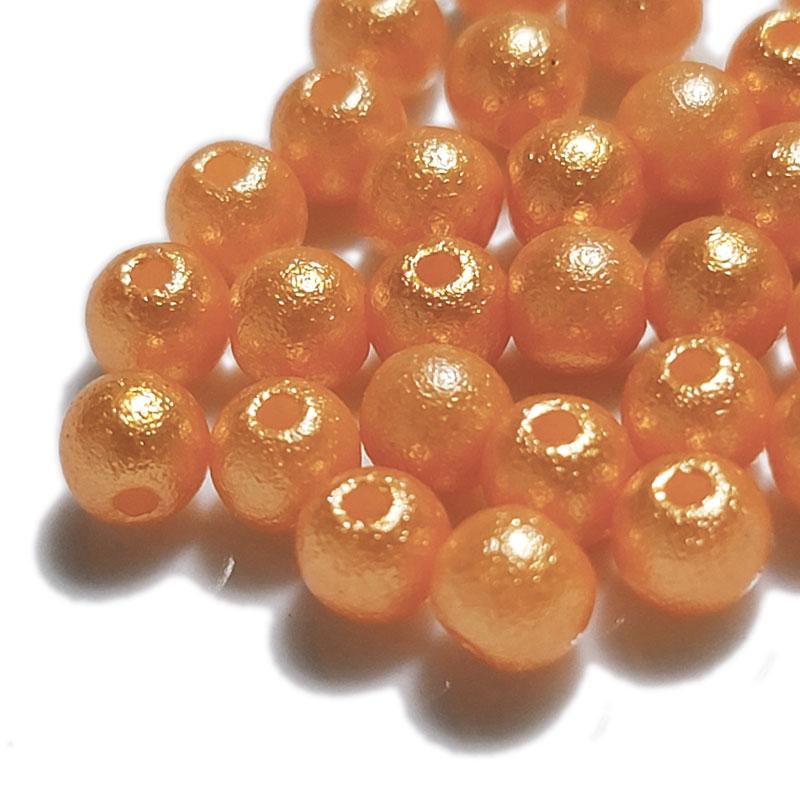 コットンパール風 オレンジ 両穴 ◇ 選べるサイズ 高品質 樹脂パール ビーズ PA0000ORE