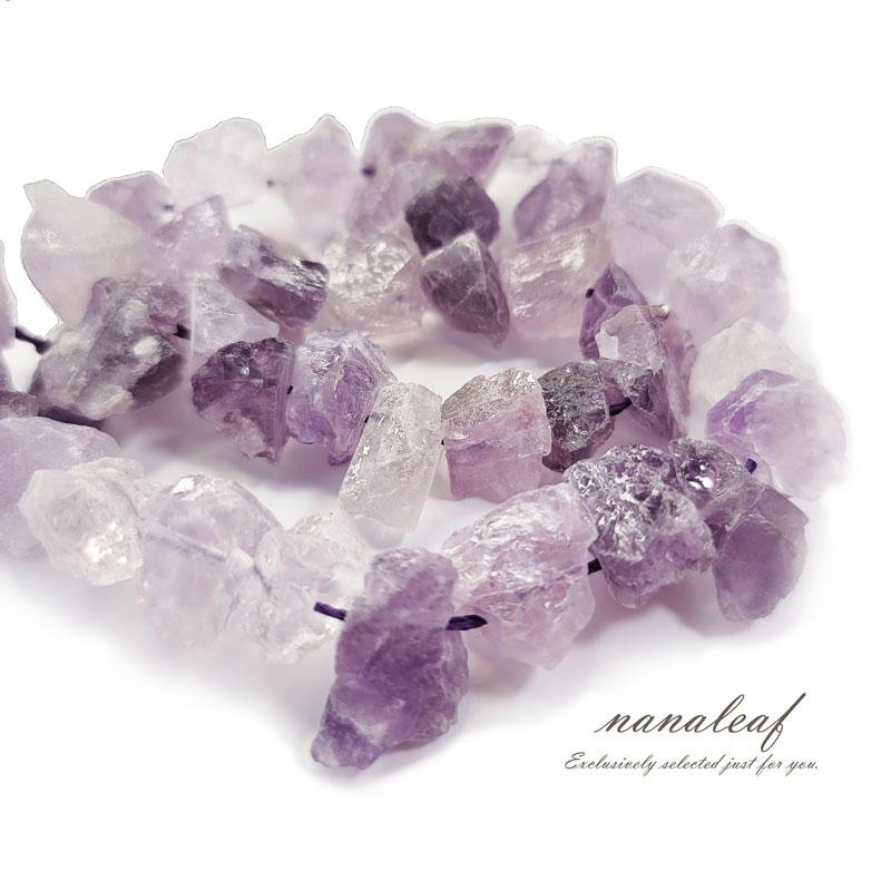【連売り】 天然石 アメジスト ラフカット 1連 ◇ 10-12mm 原石 ナゲット ビーズ 紫水量 BST00010-1