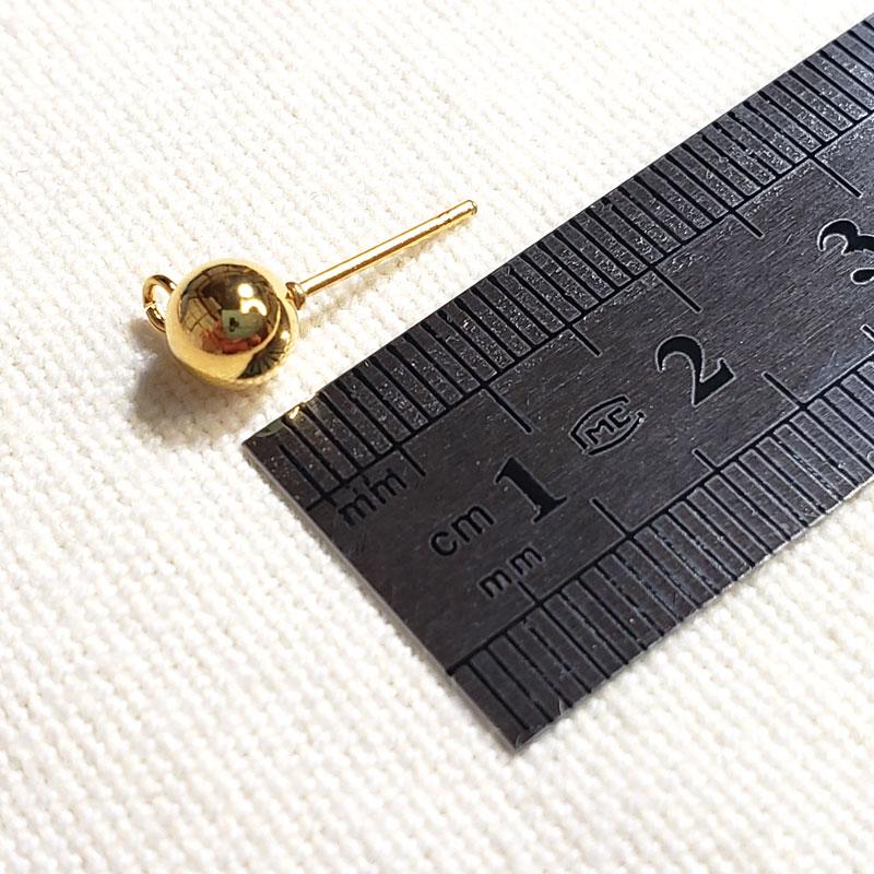 高品質なステンレス製の丸玉ピアス 6mm 10個 ◇キャッチ・カンつき KPS06GL1