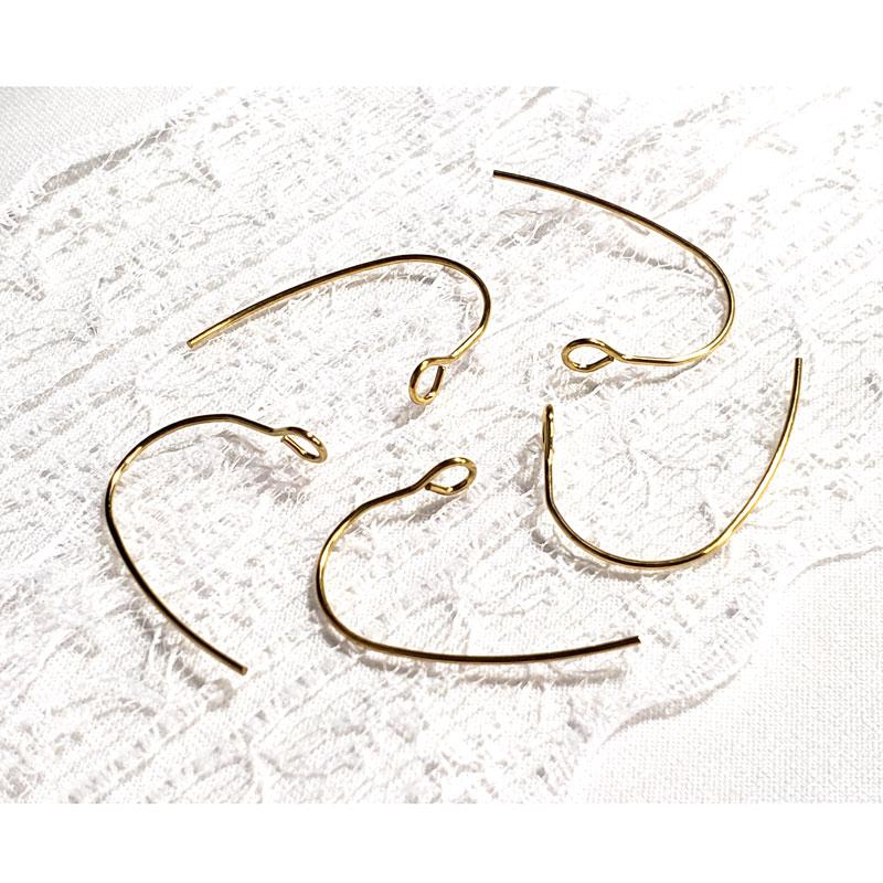 高品質なステンレス製U字型ピアスフック 10個 ◇ゴールド ワイヤーピアス A000388