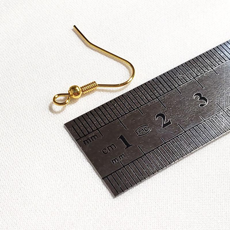 高品質なステンレス製ピアスフック 10個 ◇ 丸玉・バネつき ベーシックタイプ 線径0.8mm A000389