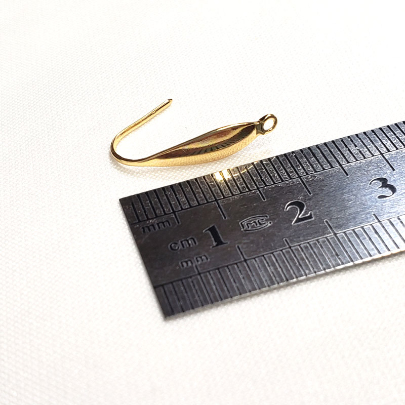 高品質なステンレス製デザインピアスフック 10個 ◇ 21mm 線径0.8mm A000390