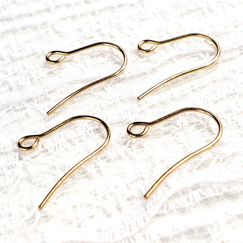 高品質なU字型のステンレス製ワイヤーピアスフック 20個 ◇ ゴールド サイズ18mm 線径0.8mm A000395