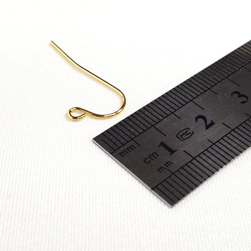 高品質なU字型のステンレス製ピアスフック 20個 ◇ ゴールド 後ろが長いタイプ 線径0.8mm A000396