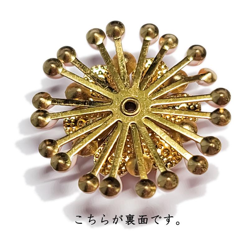 ビーズキャップ 花 黄緑 ◇ 24.5mm エナメル ラインストーン 1個 KBC25001