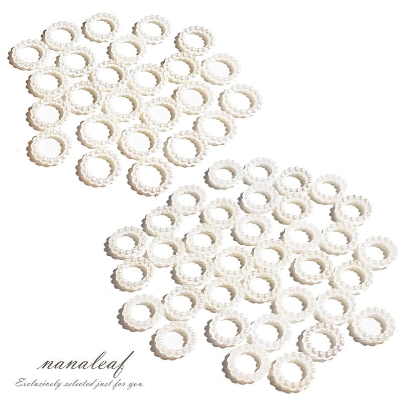 パールの輪っか 選べるサイズ 10mm / 12mm ホワイト 光沢 フープ ◇ 貼り付けパーツ A000295