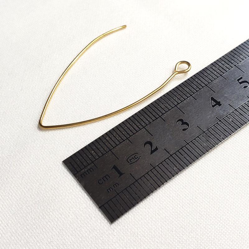 高品質なゴールドのステンレス製ピアスフックV字 10個 ◇ ワイヤータイプ 41mm 線径 0.8mm A000393