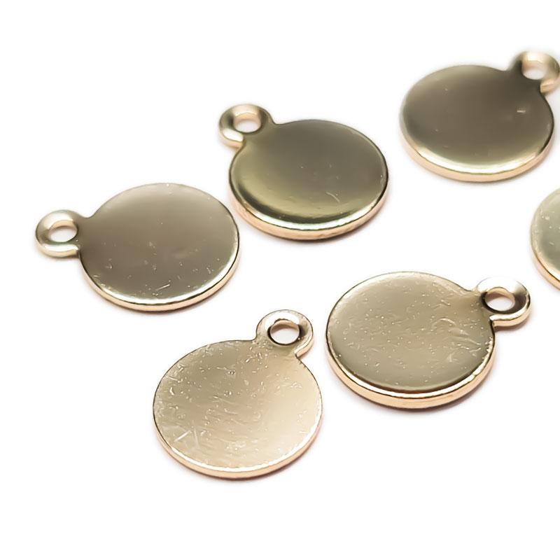 丸平皿 8mm 10枚 ◇ ゴールド プレート ディスク ニッケル・鉛・カドミウムフリー アレルギー対応 KPL08GL1