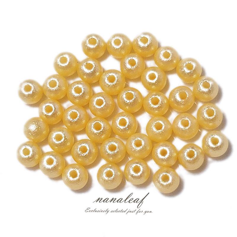 コットンパール風 みかんイエロー 両穴 ◇ 選べるサイズ 高品質 樹脂パール ビーズ PA0000YLM