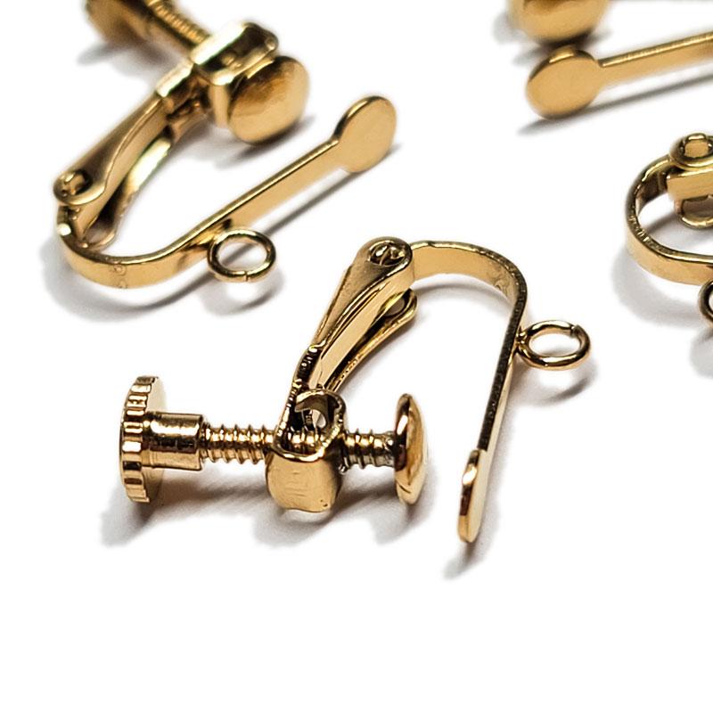 高品質 ステンレス イヤリング カン付き 4個 スクリュー式 ◇ ゴールド KER15GL2