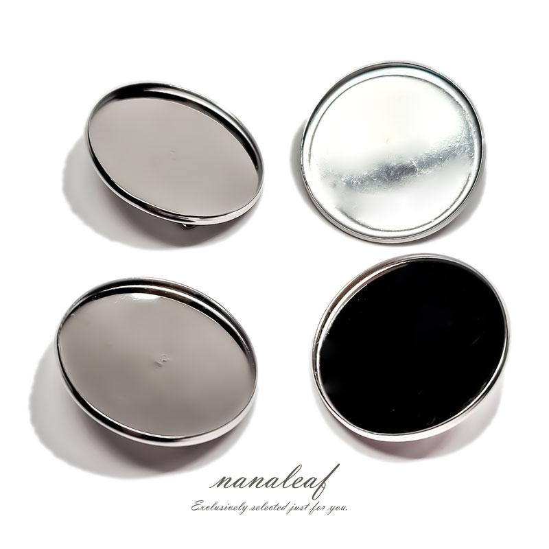 高品質 ステンレス ブローチパーツ 4個 ◇ ミール皿 シルバー KBR25SL1