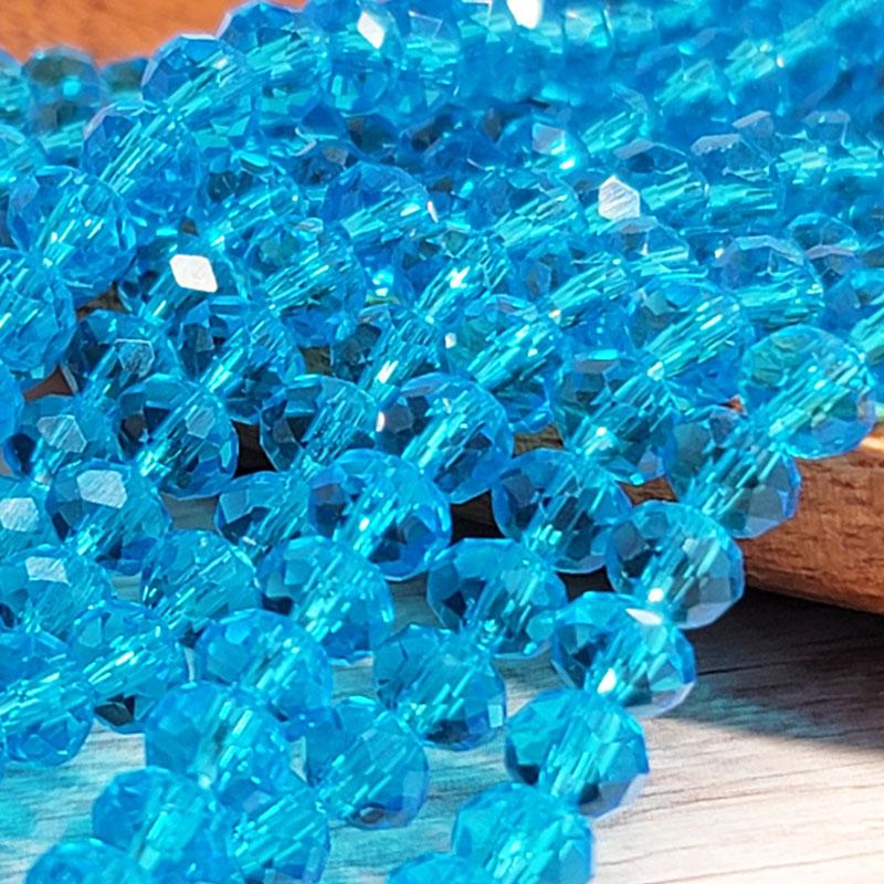 ガラスビーズ ロンデル 6mm ブルー クリスタル 40個 多面カット キラキラ BGL06BU1