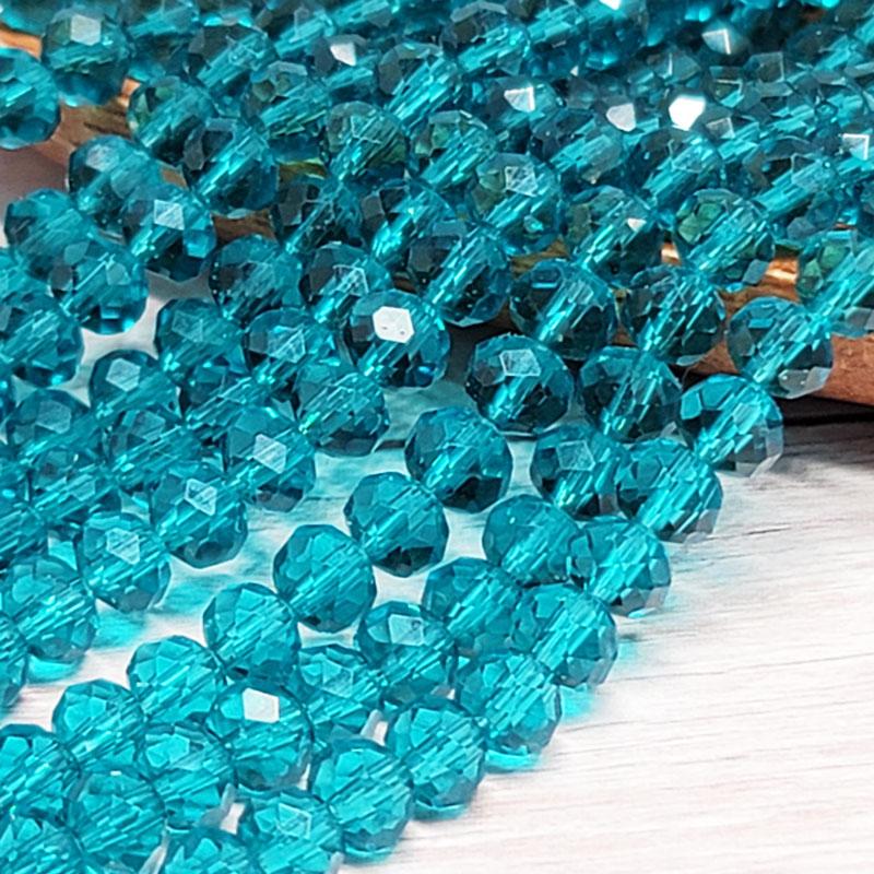 ガラスビーズ ロンデル 6mm ダークシアン クリスタル 40個 多面カット キラキラ BGL06DC1