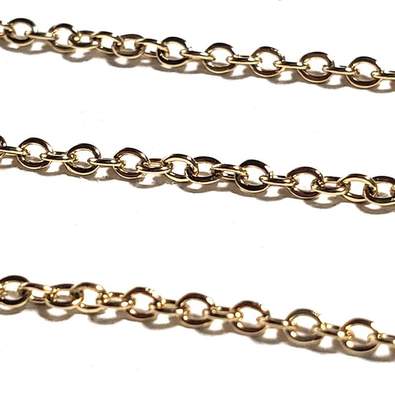 高品質 ステンレス アズキチェーン 1.5mm ◇ ゴールド 長さ指定可能 A000337
