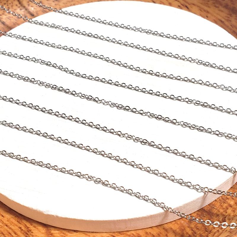 高品質 ステンレス アズキチェーン 1.5mm ◇ シルバー 長さ指定可能 A000336