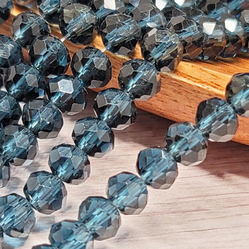 ガラスビーズ ロンデル 6mm ミッドナイトブルー クリスタル 40個 多面カット キラキラ BGL06MB1