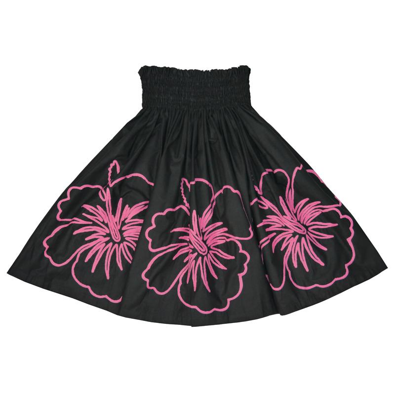 パウスカート 刺繍 ハイビスカス ブラック×ピンク [SK-742C]