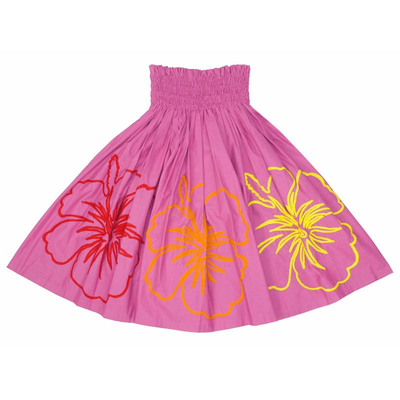 パウスカート 刺繍 ハイビスカス ピンク×レインボー [SK-744A]