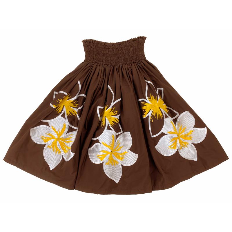 パウスカート 刺繍 プルメリア ブラウン [SK-1022]