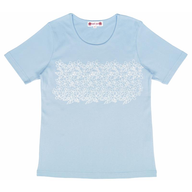 半袖Tシャツ プルメリア ラメ サックス [TS-1054]