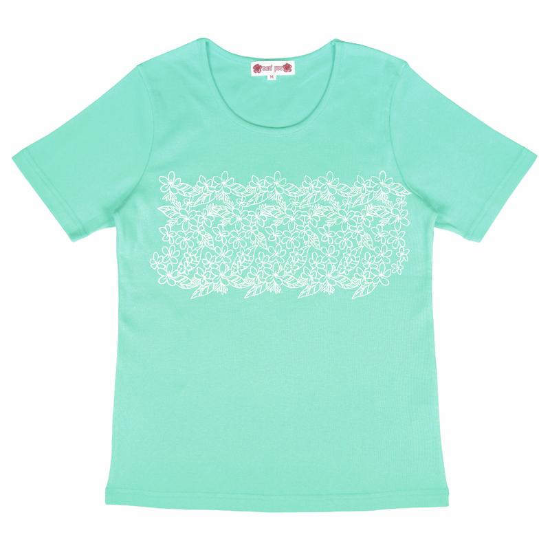 半袖Tシャツ プルメリア ラメ ティファニーブルー [TS-1055]