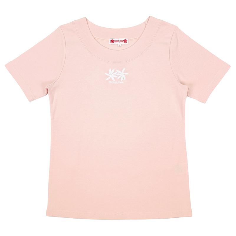 半袖Tシャツ 刺繍ティアレ ピンク [TS-1093]