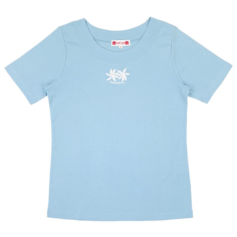 半袖Tシャツ 刺繍ティアレ サックス [TS-1094]