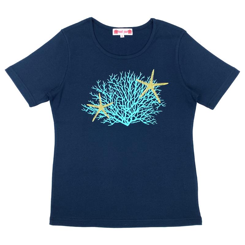 半袖Tシャツ スターフィッシュ&コーラル ネイビー [TS-1105]