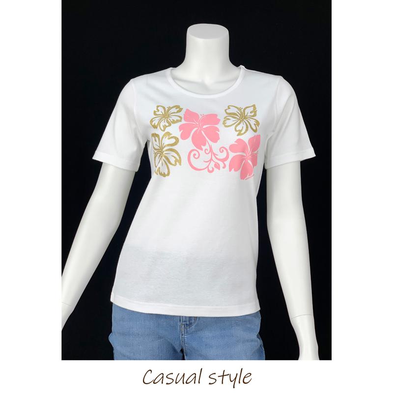 半袖Tシャツ ハイビスカスゴールド ホワイト [TS-1111]