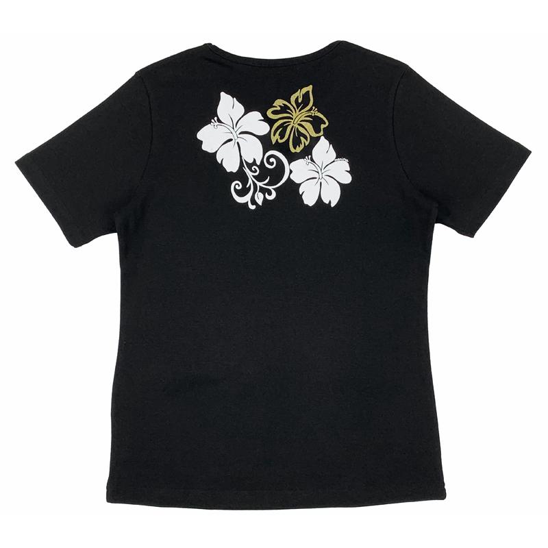 半袖Tシャツ ハイビスカスゴールド ブラック [TS-1112]