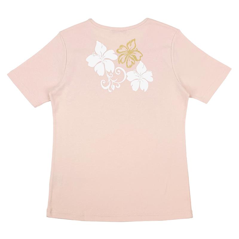 半袖Tシャツ ハイビスカスゴールド ピンク [TS-1113]
