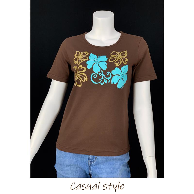 半袖Tシャツ ハイビスカスゴールド ブラウン [TS-1115]
