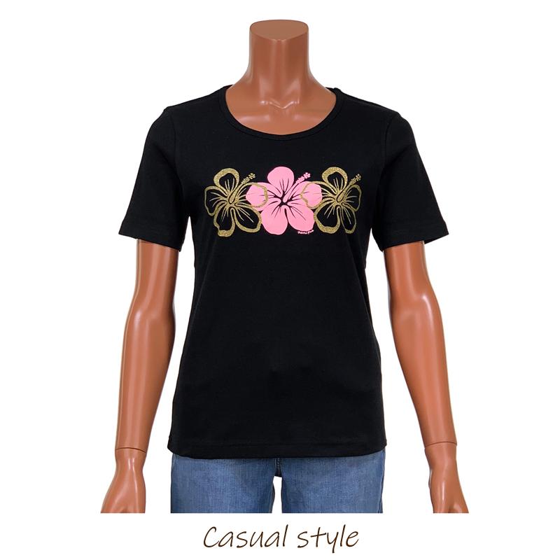 半袖Tシャツ 3連ハイビスカスゴールド ブラック×ピンク [TS-1132A]