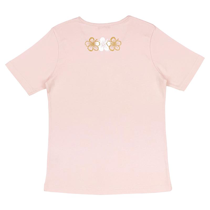 半袖Tシャツ 3連ハイビスカスゴールド ピンク [TS-1133]