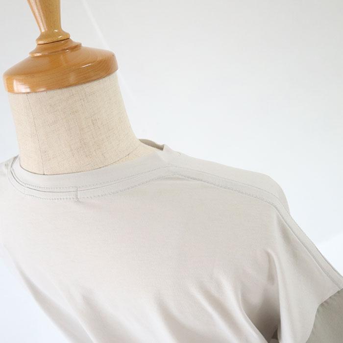 NARU(ナル) 110/2サイロプレミアム×60Sローンふんわり仕上げ袖切替プルオーバー 637420