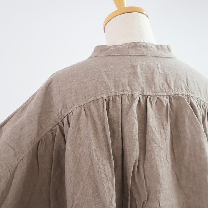 NARU(ナル) あったかフレンチリネン起毛後ろギャザーシャツ 642806
