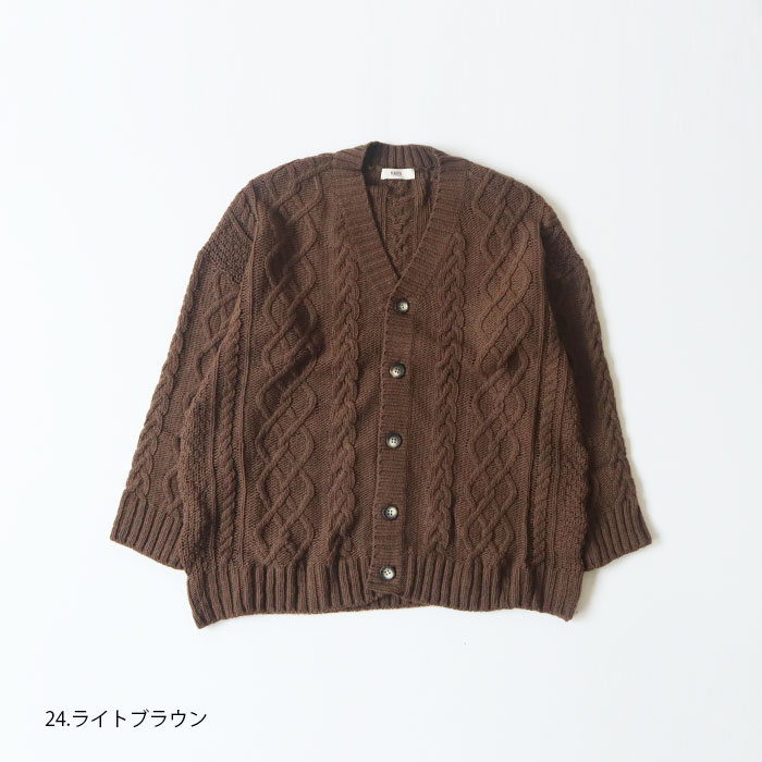 NARU(ナル) フレンチメリノウール3Gケーブル編みカーディガン 635718