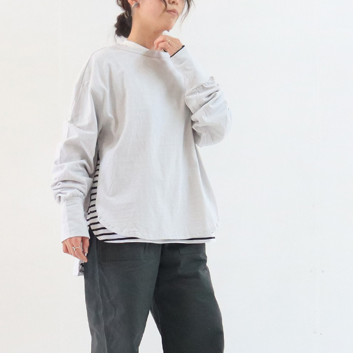 NARU(ナル) 16/1ラフィー天竺サイドファスナープルオーバー 640025