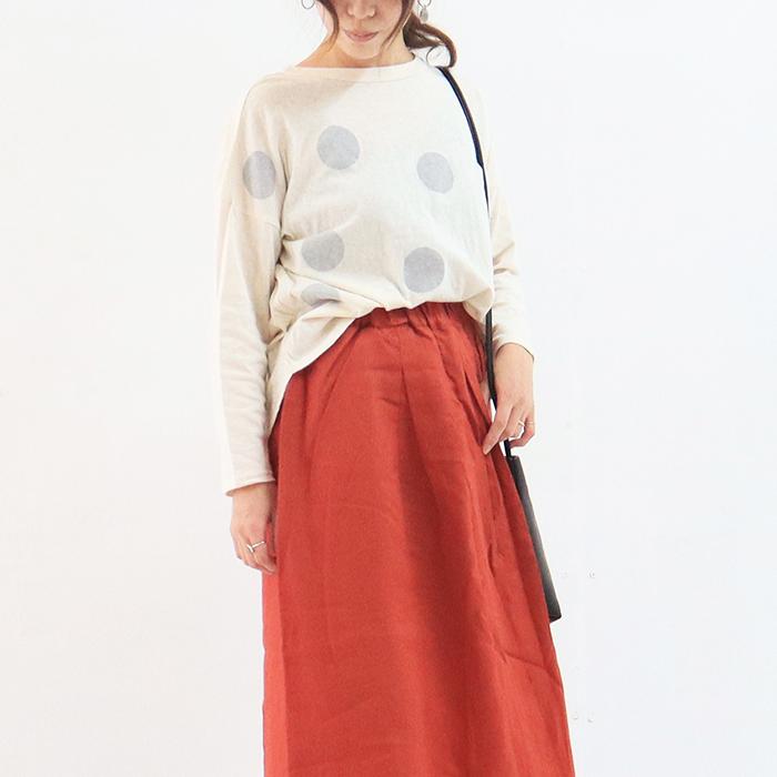 NARU(ナル) ムラ糸リサイクル天竺水玉プリント長袖プルオーバー 628016
