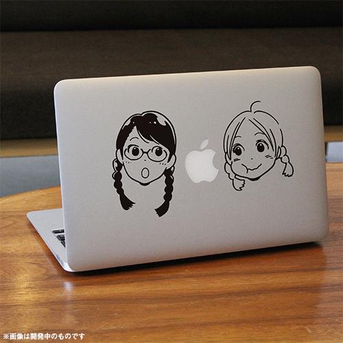 青い花 ノートPCステッカー もぐもぐリンゴ柄(MacBook用)