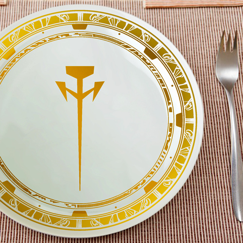 ファイブスター物語 ミラージュ騎士団ロゴ皿(ゴールド)