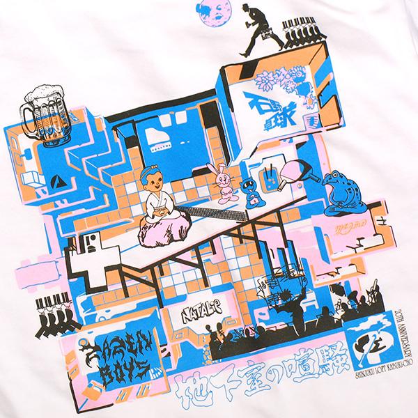 ライブイベント「地下室の喧騒」 石野卓球 / ZAZEN BOYS Tシャツ(ステッカー付き)