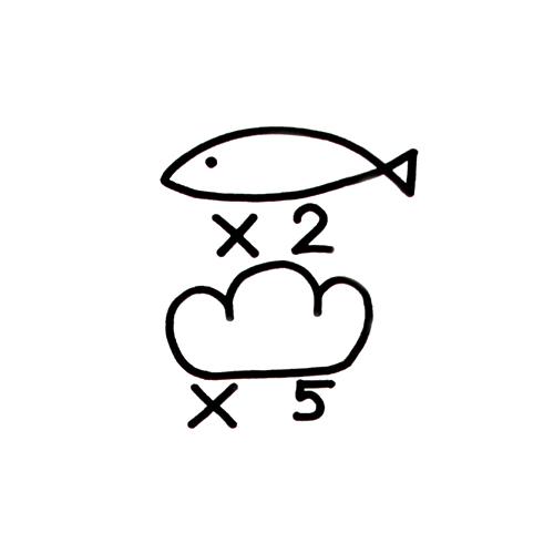 聖☆おにいさん ブッダ特製Tシャツ「魚×2 パン×5」