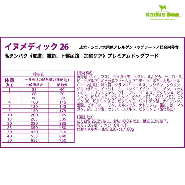 nativedog イヌメディック6kg(3kg2袋)   送料無料/一部地域は送料別
