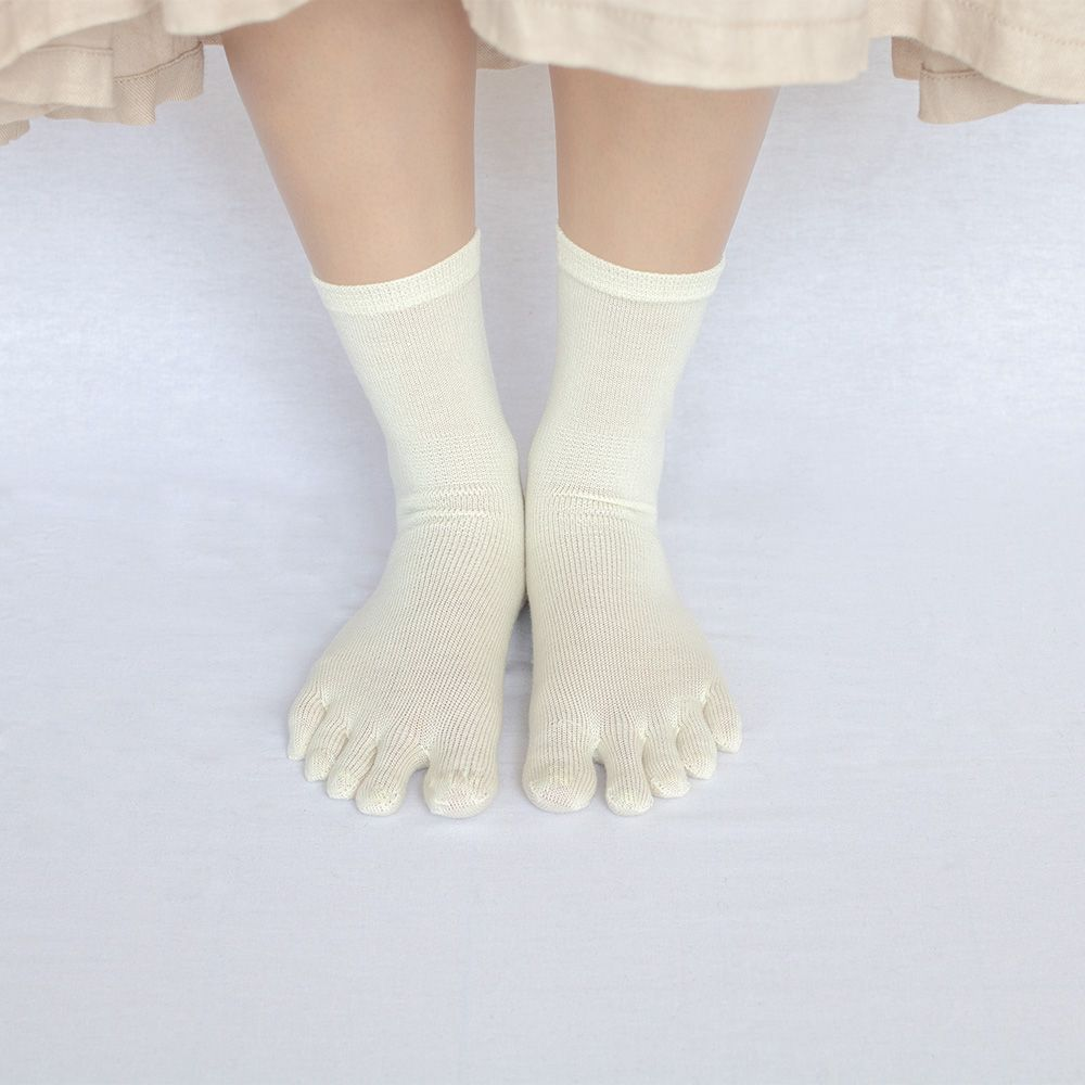 シルク ウール 五本指ソックス & シルクウール ソックス 2足セット レディース 23-25cm 全5色 かかと付き 重ね履きセット natural sunny