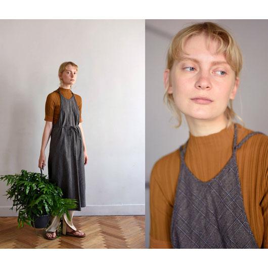 "Unfil(アンフィル)""glen checked-tweed apron dress""[WZSP-UW118] -WOMEN"