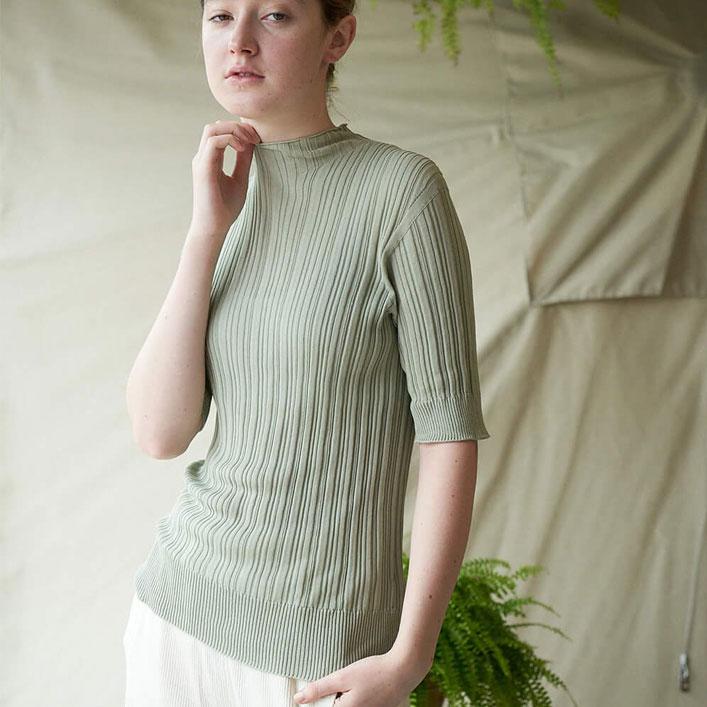 "Unfil(アンフィル)""high twist cotton ribbed-knit sweater""[WOSP-UW131] -WOMEN"