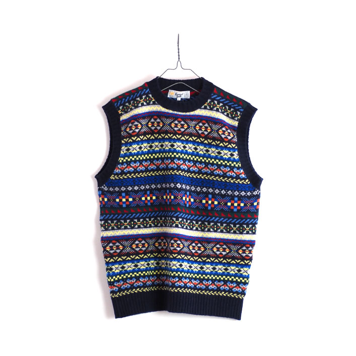 "LAURENCE J.SMITH(ローレンス ジェイ スミス) ""SIDE SEAM FAIRISLES CREW NECK VEST"" [#LJS3903M] -MEN"