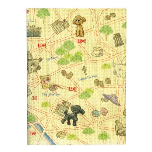 ふすま地ブックカバー フランス犬 1630