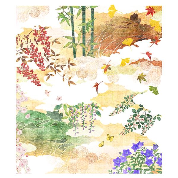 絵便りふきん 茶畑と季節